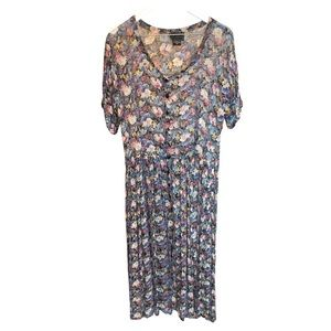 Vintage 90's Sheer Floral Button Down Dress Medium